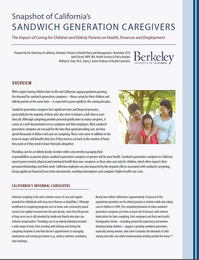 A Snapshot of California's Sandwich Generation Caregivers (STUDY)